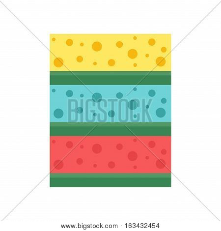 Cellulose sponges color cleaning rag for housekeeping cleanness sanitation folded material. Vector illustration hygiene wipe domestic kitchen tool isolated on white.