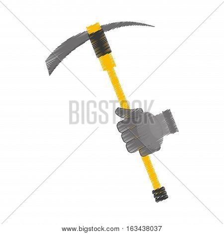 drawing pickaxe tool mining extraction glove vector illustration eps 10