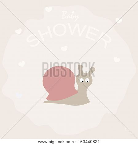 poster cute baby shower with a little snail. pattern for greeting or invitation. vector illustration. baby shower or arrival