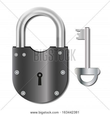 Granary padlock. Padlock black metal. Vector image.