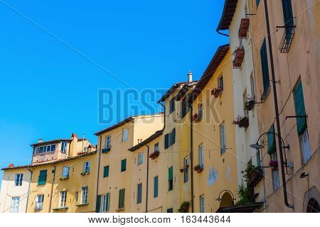 Facades Of Old Buildings In Lucca, Italy