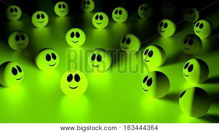 Green glowing ball with a smiling face standing out from the crowd of spheres looking at the individual 3d Illustration