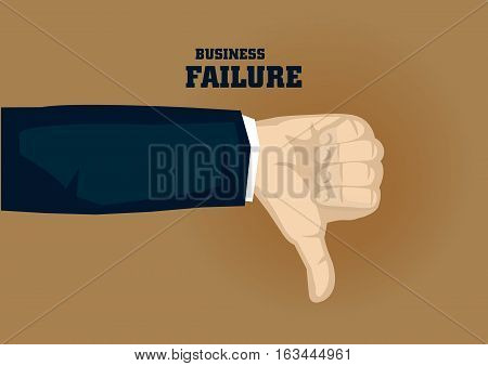 Vector illustration of cartoon hand of businessman in thumbs down gesture isolated on brown background. Concept for business failure.