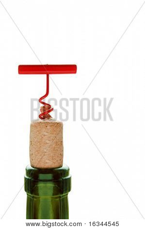 wine bottle with red cork-screw