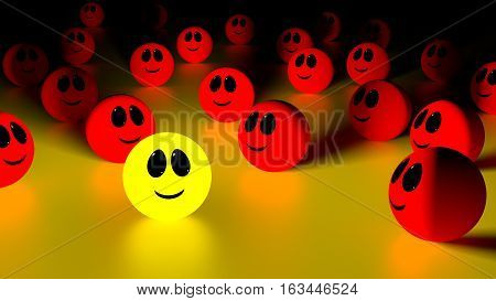 Yellow glowing ball with a smiling face standing out from the crowd of red spheres looking at the individual 3d Illustration