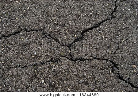 cracked road asphalt close up