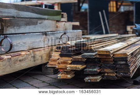 Warehouse Wood Planks On The Street