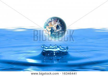 planet earth like water drop