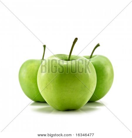 three apple isolated on white