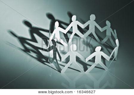 Papier Menschen im Kreis closeup