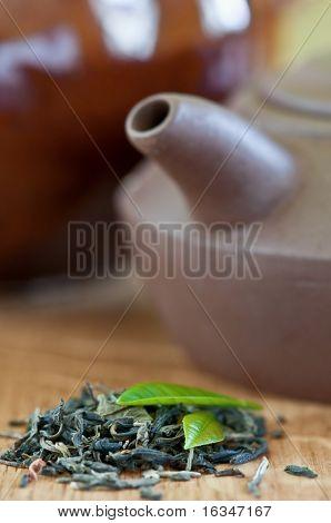 black tea with leaf closeup