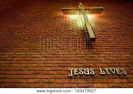 The Cross church in natural light - Jesus Lives