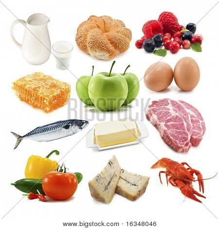 useful food isolated on white