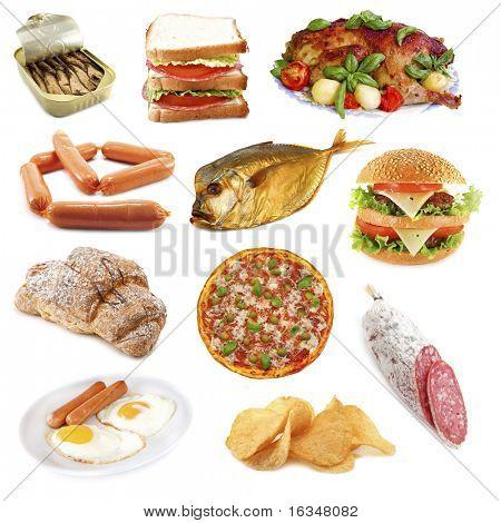 ungesunde Lebensmittel, isolated on white