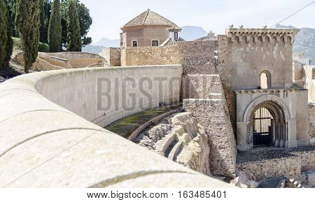 Detail on the old Roman theater in Cartagena, Spain