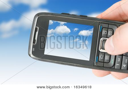 mobile phone and blue sky