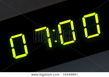 seven o'clock on digital display
