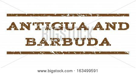 Antigua and Barbuda watermark stamp. Text caption between horizontal parallel lines with grunge design style. Rubber seal stamp with scratched texture.