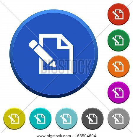 Edit round color beveled buttons with smooth surfaces and flat white icons