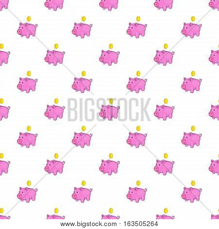 Pink piggy bank pattern. Cartoon illustration of pink piggy bank vector pattern for web