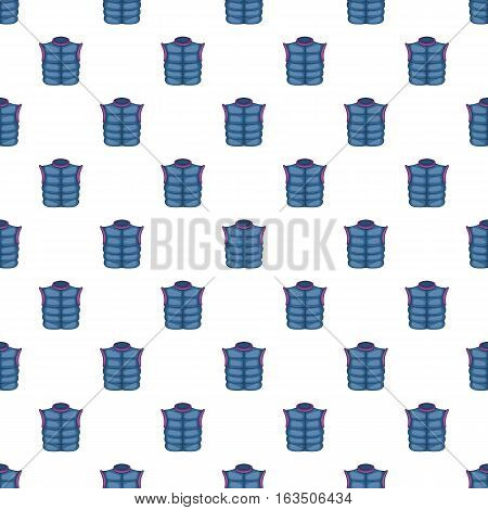 Blue warm vest pattern. Cartoon illustration of blue warm vest vector pattern for web