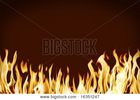 fire flame isolated on red background
