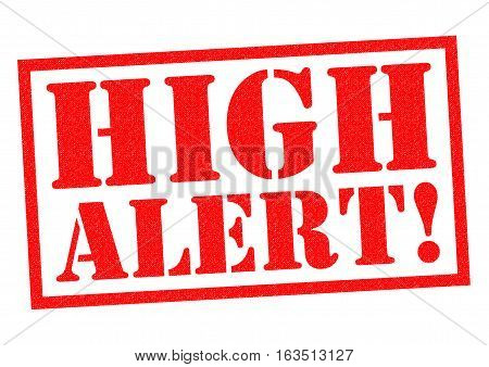 HIGH ALERT red Rubber Stamp over a white background.