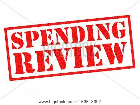 SPENDING REVIEW red Rubber Stamp over a white background.