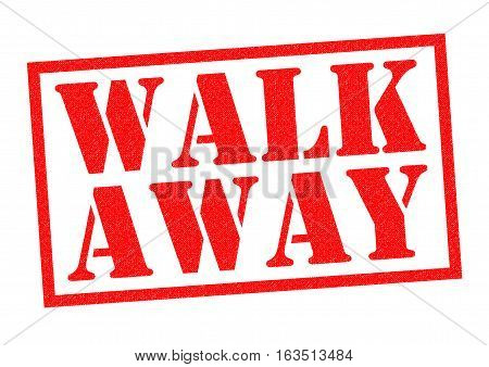 WALK AWAY red Rubber Stamp over a white background.