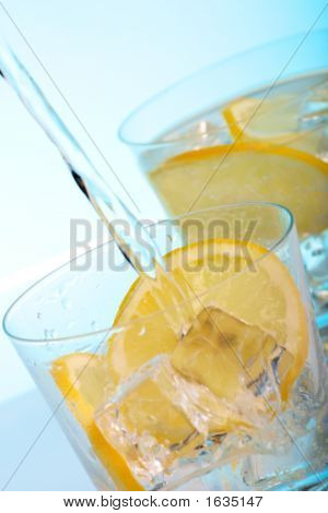 Pouring Water Into Cocktails