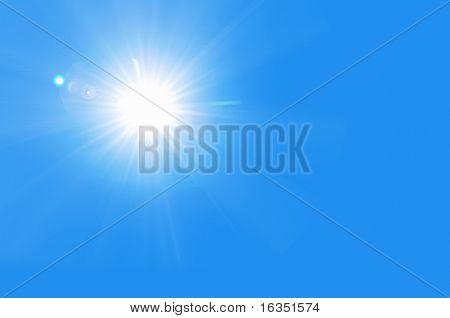 sun shine in blue sky