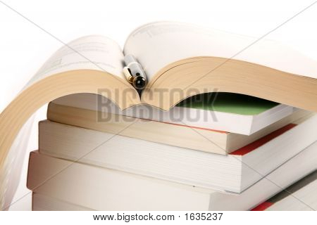 Books Stack And Pen