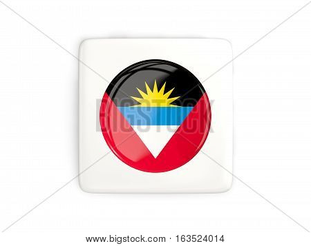 Square Button With Round Flag Of Antigua And Barbuda