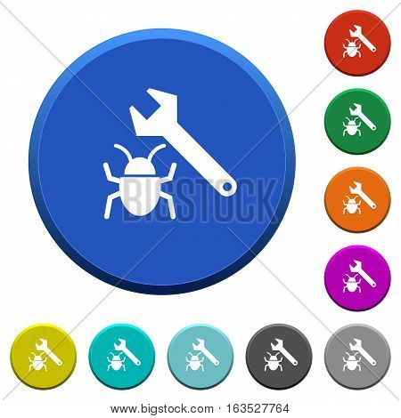 Bug fixing round color beveled buttons with smooth surfaces and flat white icons
