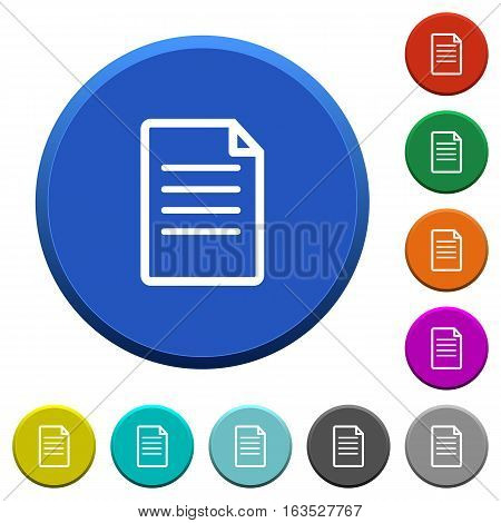 Document round color beveled buttons with smooth surfaces and flat white icons