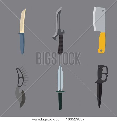 Knife weapon dangerous collection. Vector illustration of sword spear. Edged weapons set. Combat andbonder bayonet cold protection or attack steel arms.