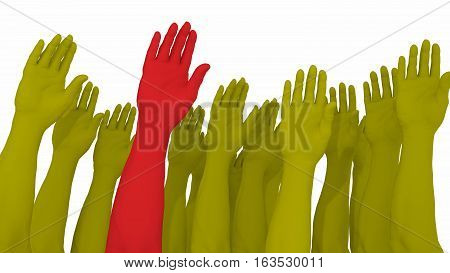 Multiple arms and hands raised in yellow with one red standing out from the crowd 3D illustration