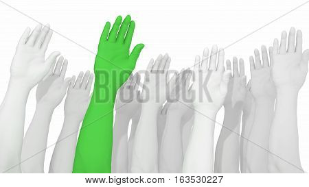 Multiple arms and hands raised in white with one green standing out from the crowd 3D illustration