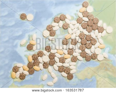 Pills in a shape of a Europe