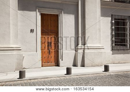 SANTIAGO DE CHILE-NOVEMBER 13, 2014:Door where the corpse of president Allende was removed assassinated in the Palacio de la moneda on september 11 1973 in Santiago de Chile on November 13, 2014. Chile