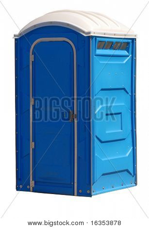 portable johnny on the spot or outhouse isolated on white