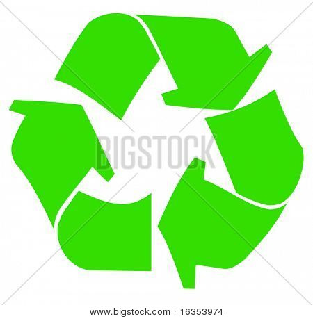 green recycle symbol or logo on white background - vector