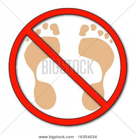 foot prints with not allowed symbol on top - no walking, no barefeet - vector