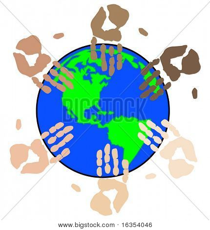ethnic colored hand prints working globally as a team - vector