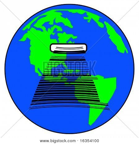 world globe with slot for barcode - international purchases or trade - vector