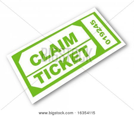 green ticket with words - claim ticket - vector