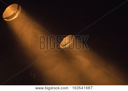 Scenic Spot Lights On Black Background