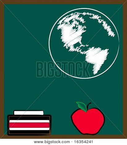 chalkboard or black board with earth - geography lesson