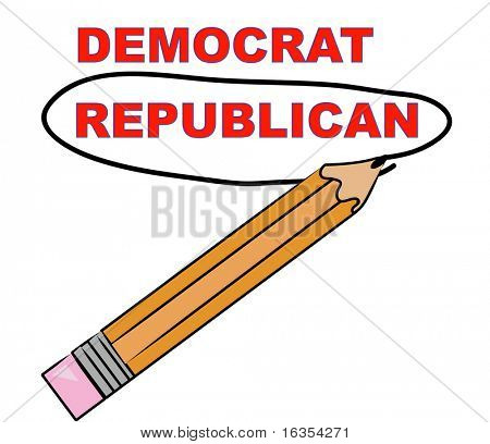 pencil circling the word republican over democrat - vector
