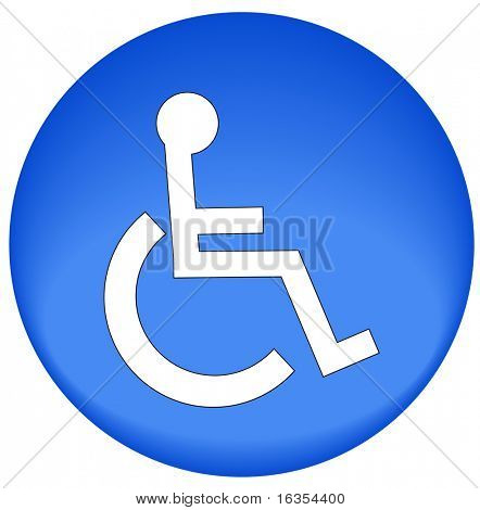 blue button or icon with handicap symbol of accessibility - vector